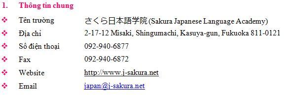 thông tin cơ bản học viện nhật ngữ sakura