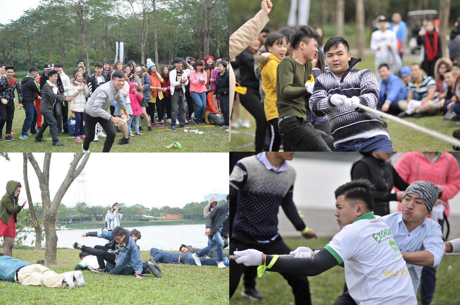 Hình ảnh: Các bạn học sinh hăng hái tham gia các trò chơi