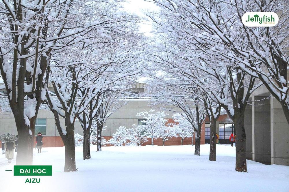 Mùa đông tại University of Aizu