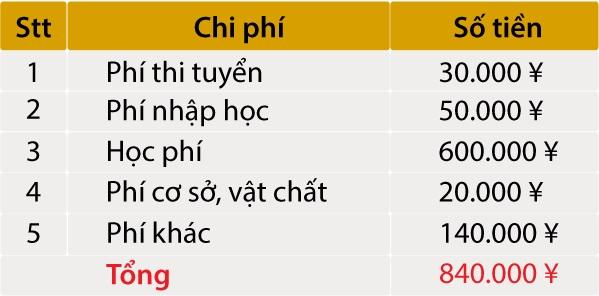 Bảng phí học viện Nhật ngữ YIC