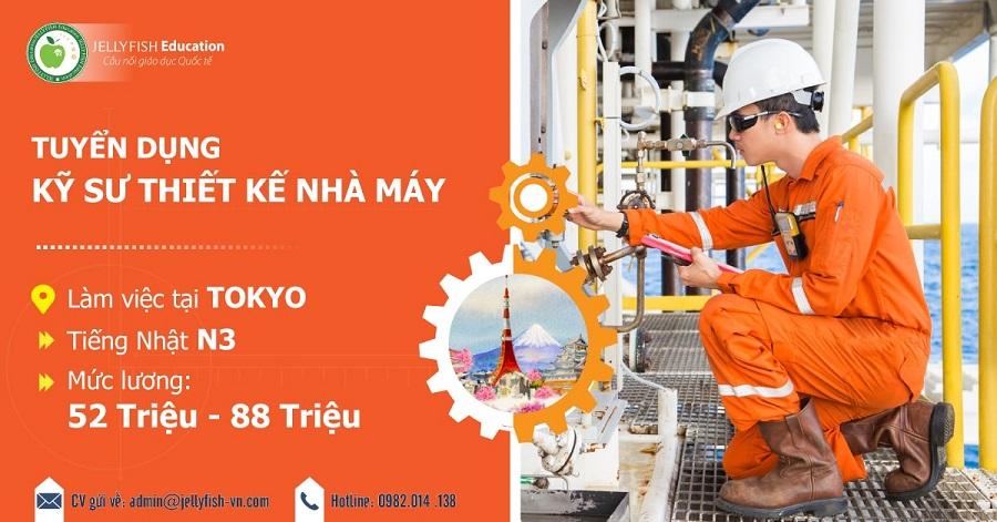 [KT060910] Tuyển dụng kỹ sư thiết kế nhà máy làm việc tại Tokyo